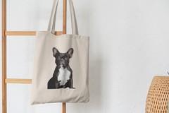 Сумка-шоппер с принтом Собака, Французский бульдог (Dog) бежевая 009