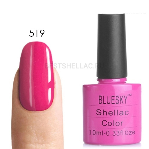 Bluesky Shellac 40501/80501 Гель-лак Bluesky № 40519/80519 Hot Pop Pink, 10 мл 519.jpg