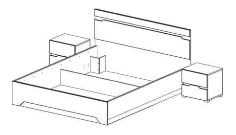 Спальня Анталия-2 Горизонт дуб сонома, графит софт