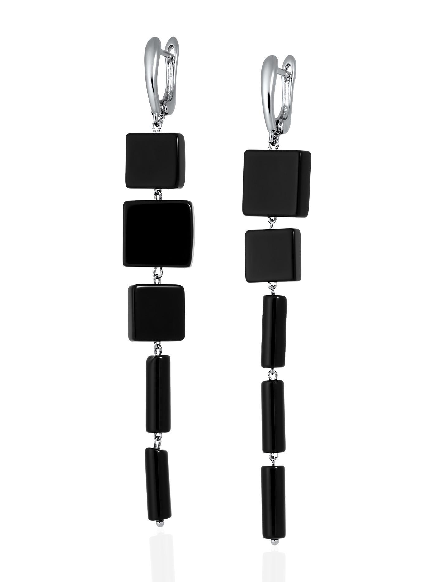 Асимметричные серьги с черным агатом в подарочной коробке