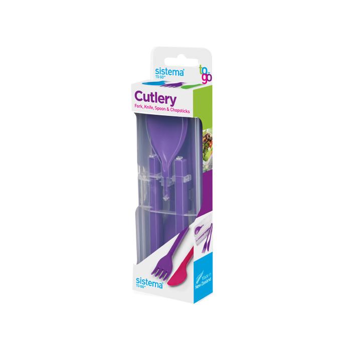 """Набор столовых приборов в футляре Sistema """"TO GO"""" 4пр., цвет Фиолетовый"""