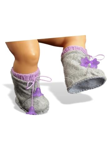 Сапожки-угги из фетра + носки - На кукле. Одежда для кукол, пупсов и мягких игрушек.