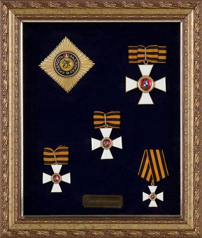 Орденский набор св. Георгия в раме (офицерский), копии