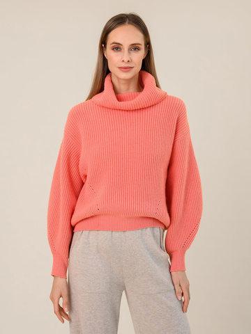 Женский свитер кораллового цвета из шерсти и кашемира - фото 2