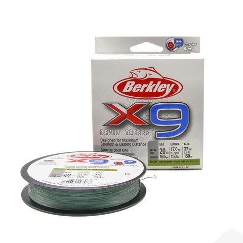 Плетеная леска Berkley X9 150 м. Темно-зеленая 0,17 мм. 9,1 кг.