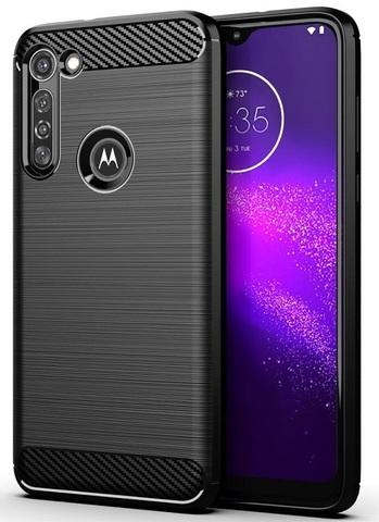 Чехол черного цвета на Motorola G8 Power, серия Carbon от Caseport