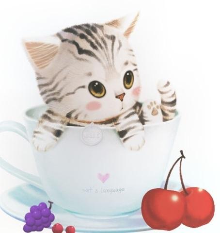 Алмазная Мозаика 20x20 Игрушечный котенок в чашке (арт. MM1144 )