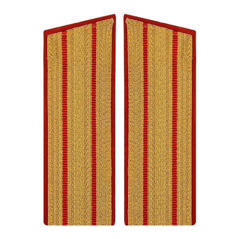 Погоны парадные с 2 красными просветами (верх со скосом)