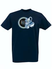 Футболка с принтом Знаки Зодиака, Водолей (Гороскоп, horoscope) темно-синяя 005