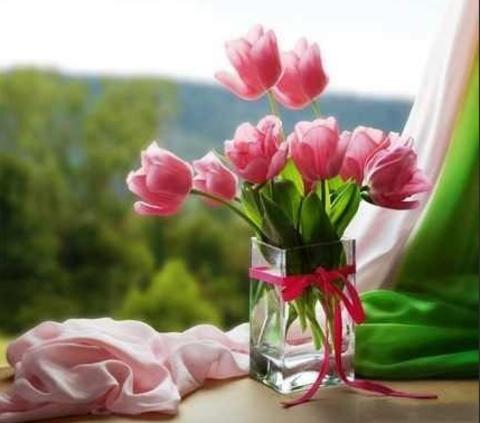Алмазная Мозаика 30x40 Букет тюльпанов на окне (арт. GB70326)