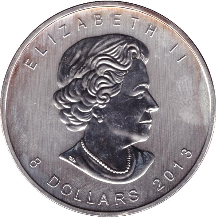 8 долларов Канада. Полярный медведь 2013 г. AU
