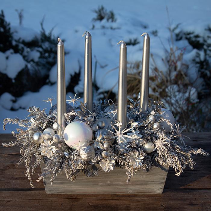 Новогодний декор из сухоцветов Джадис серебро высокие свечи