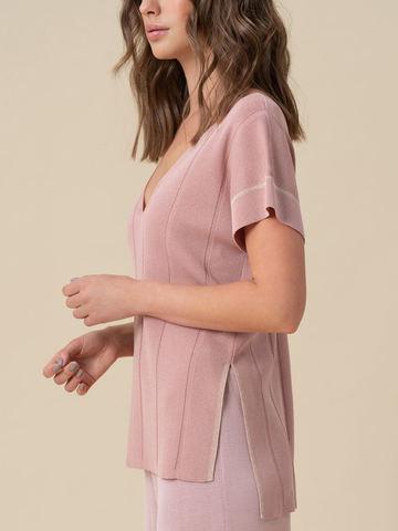 Женская футболка светло-розового цвета из вискозы - фото 3