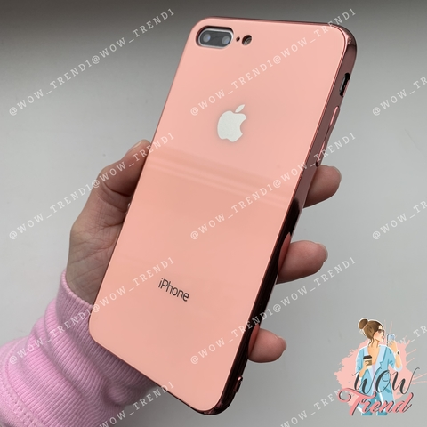 Чехол iPhone 7/8 Plus Glass Case Logo /pink/