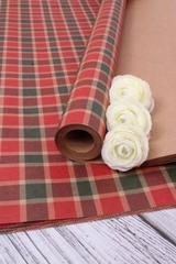 Бумага крафт, Винтажня шотландка 100*70 см, 5 листов, 1 рулон.