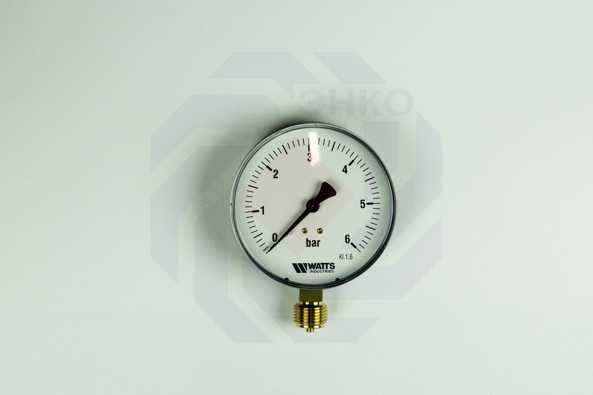 Манометр радиальный WATTS MDR 100/6 (F+R250) 0-6 бар 100 мм ½