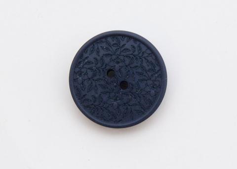 Пуговица с резными растениями, пластиковая, тёмно-синяя, 20 мм