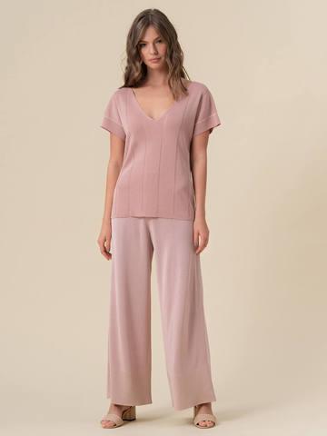 Женская футболка светло-розового цвета из вискозы - фото 5