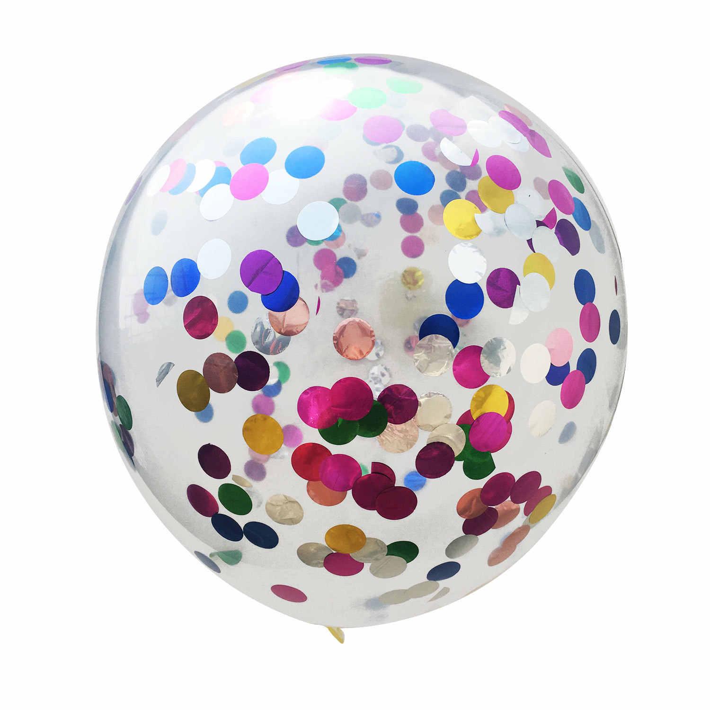 Латексный воздушный шар, с конфетти разноцветные круги