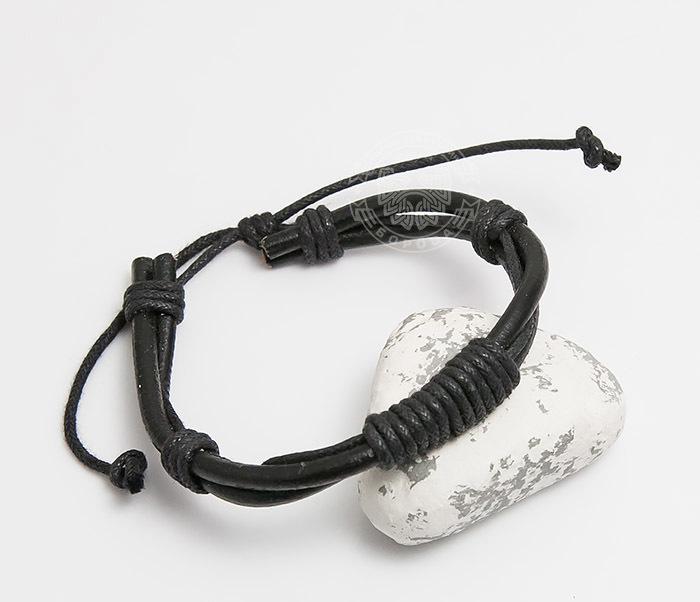 SL0007-K Мужской браслет «Spikes» на завязках из черного шнура