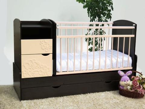 Кроватка-трансформер Элис-Виола маятник поперечный (венге/ваниль)