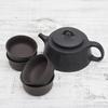 Чайник из черной глины и 4 пиалы в наборе #H92