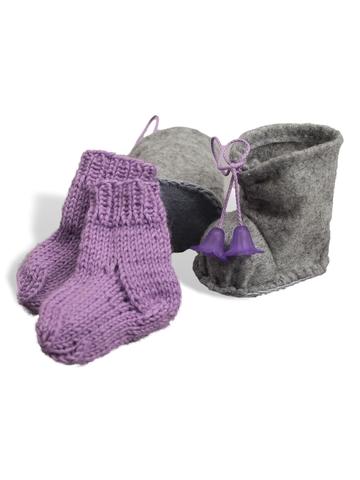 Сапожки-угги из фетра + носки - Сиреневый. Одежда для кукол, пупсов и мягких игрушек.
