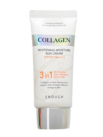 Enough Увлажняющий солнцезащитный крем для лица с коллагеном Collagen 3 in 1 Whitening Moisture Sun Cream SPF50+, 50 мл
