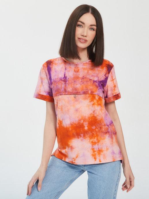 Стильная футболка оверсайз в расцветке тай-дай с секретами для кормления