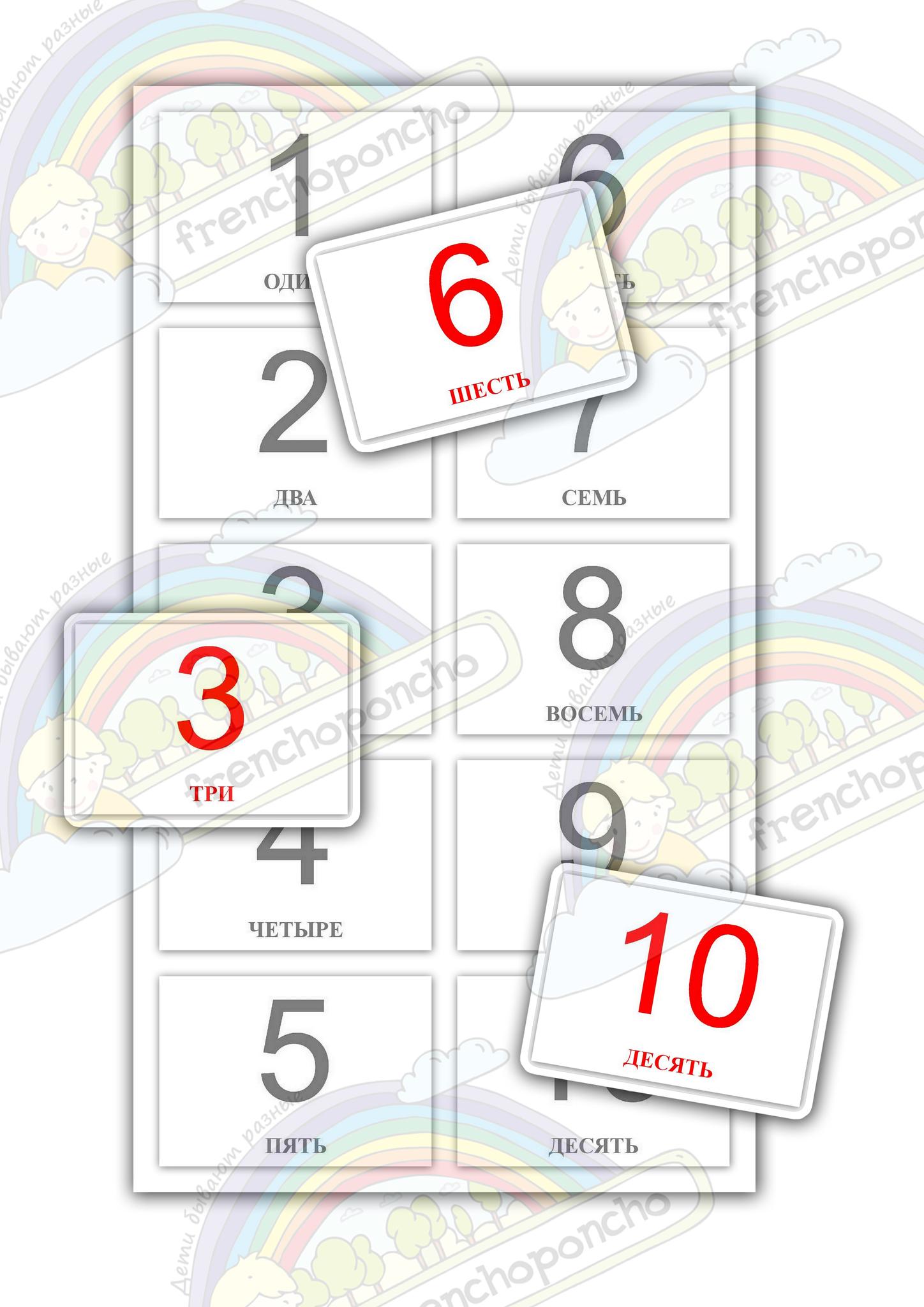 Учим цифры 1-10. Развивающие пособия на липучках Frenchoponcho (Френчопончо)