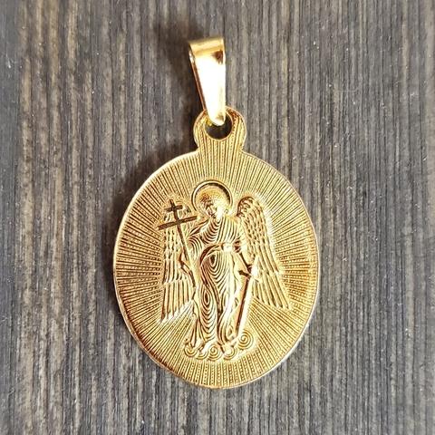 Нательная именная икона святая Марина с позолотой обратная сторона
