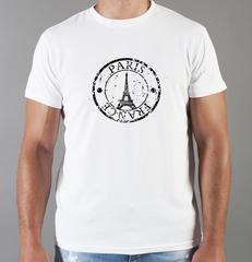Футболка с принтом Париж, Франция, Эйфелева башня (France/ Paris) белая 003