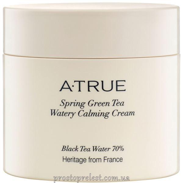 A-True Spring Green Tea Watery Calming Cream -Заспокійливий крем для обличчя для зволоження і освітлення шкіри
