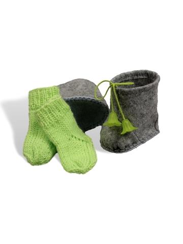 Сапожки-угги из фетра + носки - Салатовый. Одежда для кукол, пупсов и мягких игрушек.