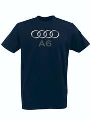 Футболка с принтом Ауди A6 (Audi A6) темно-синяя 003