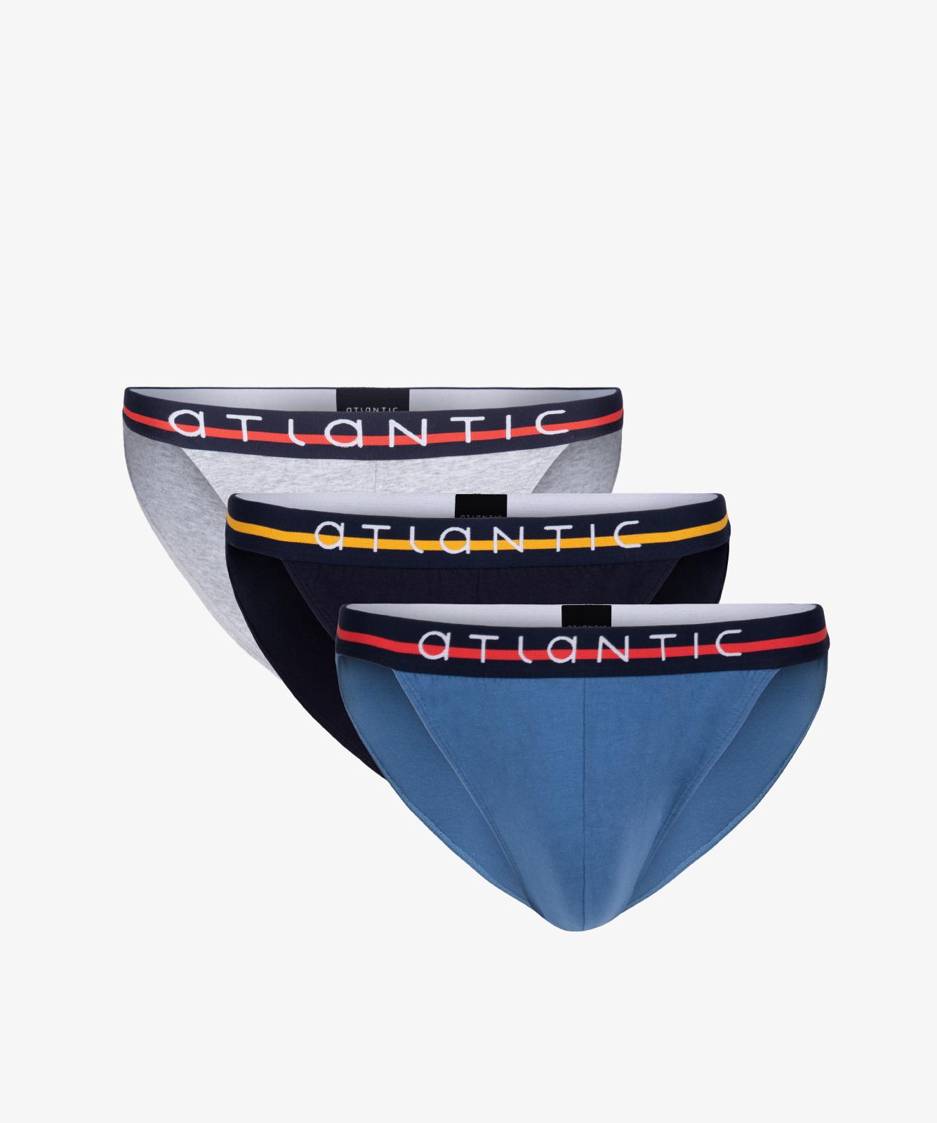 Мужские трусы слипы танга Atlantic, набор 3 шт., хлопок, голубой меланж + темно-синие + деним, 3MP-089