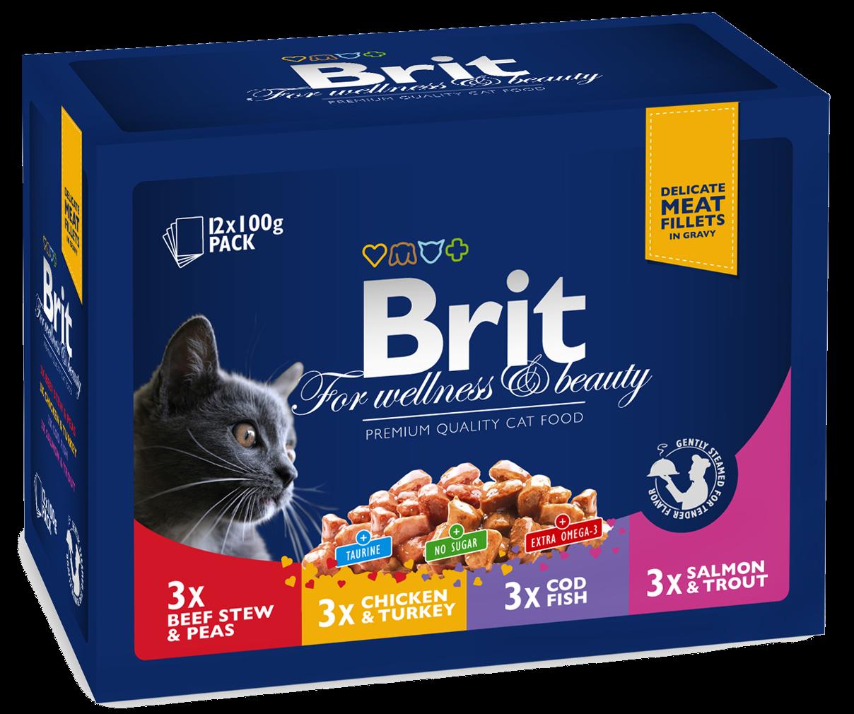 """Влажные корма Паучи для кошек, Brit Premium, """"Семейная тарелка"""" ПРЕМИУМ_семейная.png"""