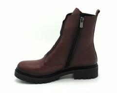 Бордовые кожаные ботинки с резинками