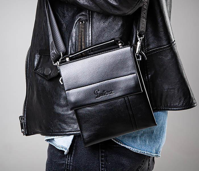 BAG560-1-3 Мужская кожаная сумочка с ручкой и ремнем