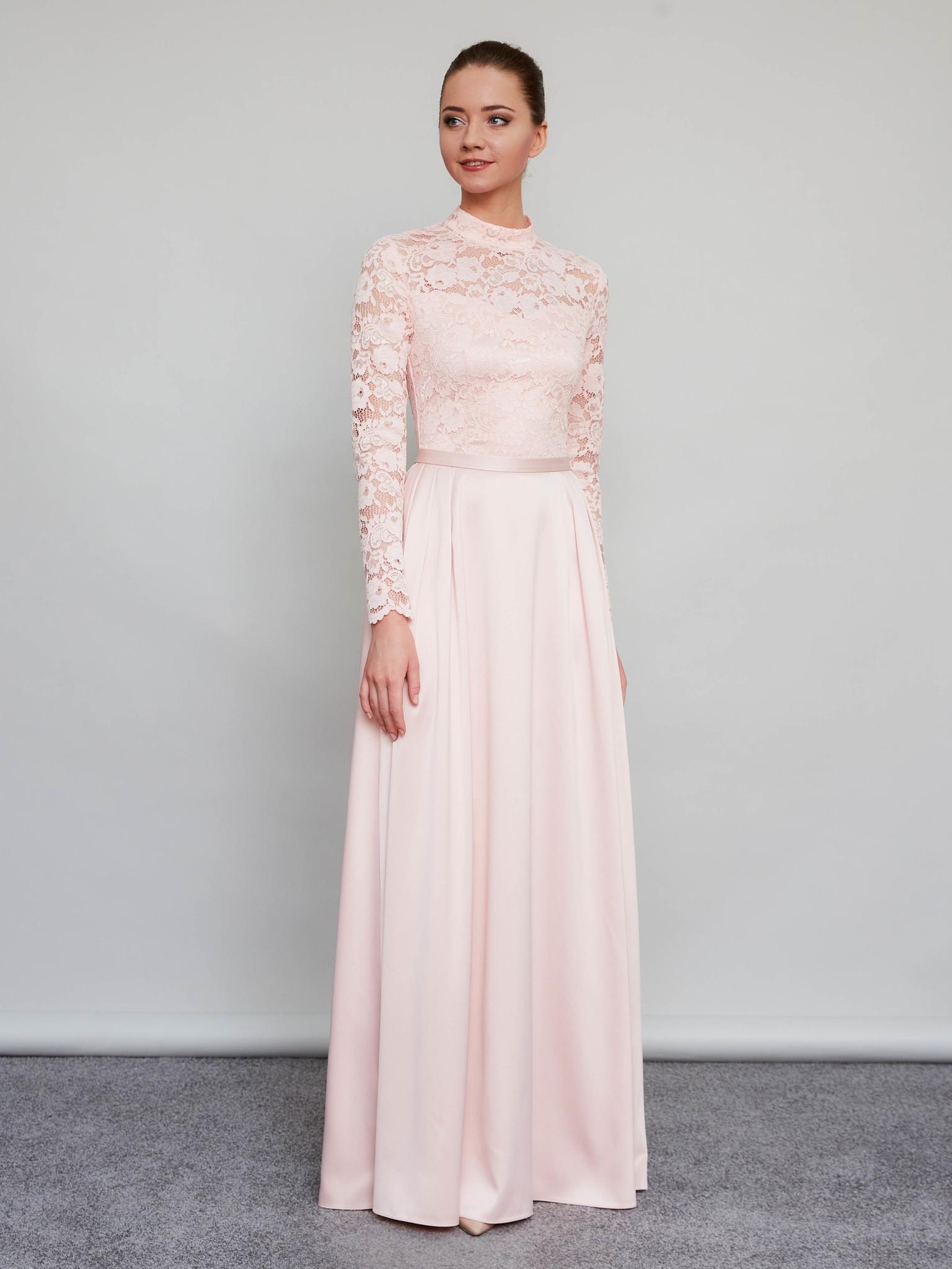 Свадебное платье-макси с кружевным верхом и длинными рукавами (пудра)