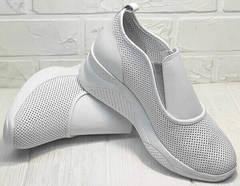Белые туфли на танкетке кожаные сникерсы женские casual premium летние Derem 1761-10 All White.