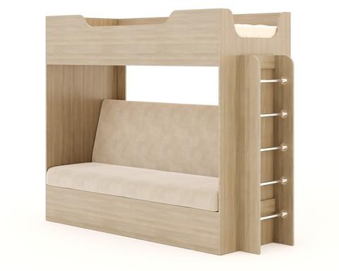Кровать двухъярусная КР-11 с диваном ясень шимо светлый