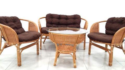 Комплект кофейный БАГАМА New Wicker (стол, 2 кресла и диван), подушки ткань твил, 03/10 К New Wicker