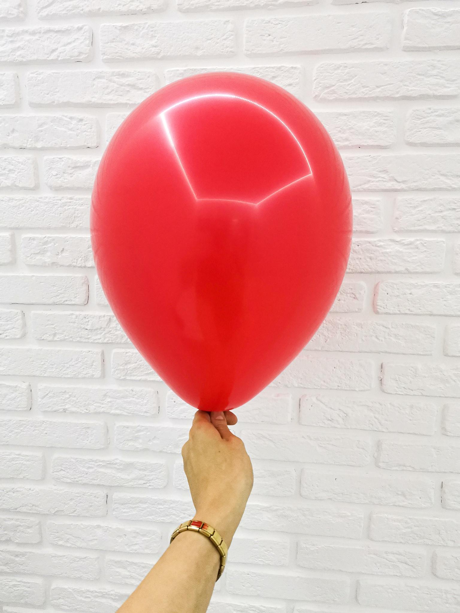 №5 Красный Гелиевый шар пастель 30см с обработкой