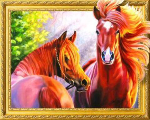Алмазная Мозаика 5D Две лошади (арт. LT0552)