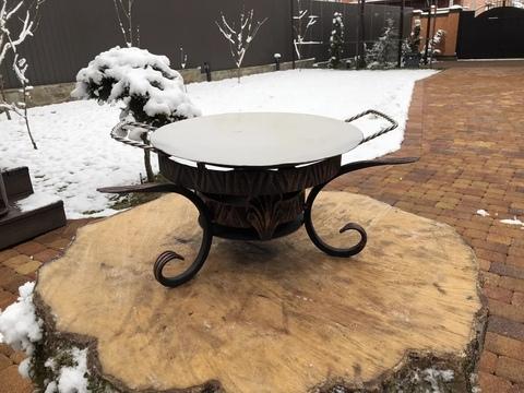 Кованый садж с тарелкой из нержавеющей стали 30 см