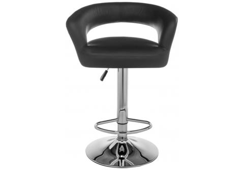 Барный стул Rim черный 55*55*82 Хромированный металл /Черный кожзам