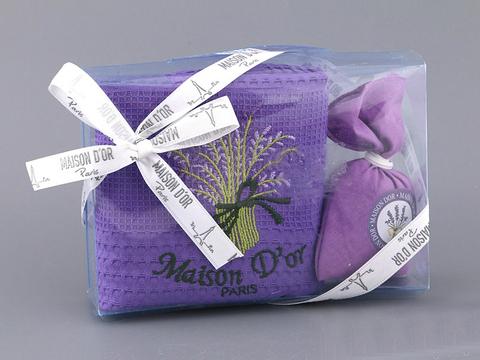 Кухонное полотенце с подарочной коробке Лаванда, фиолетовое