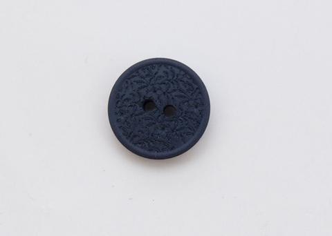 Пуговица с резными растениями, пластиковая, тёмно-синяя, 15 мм