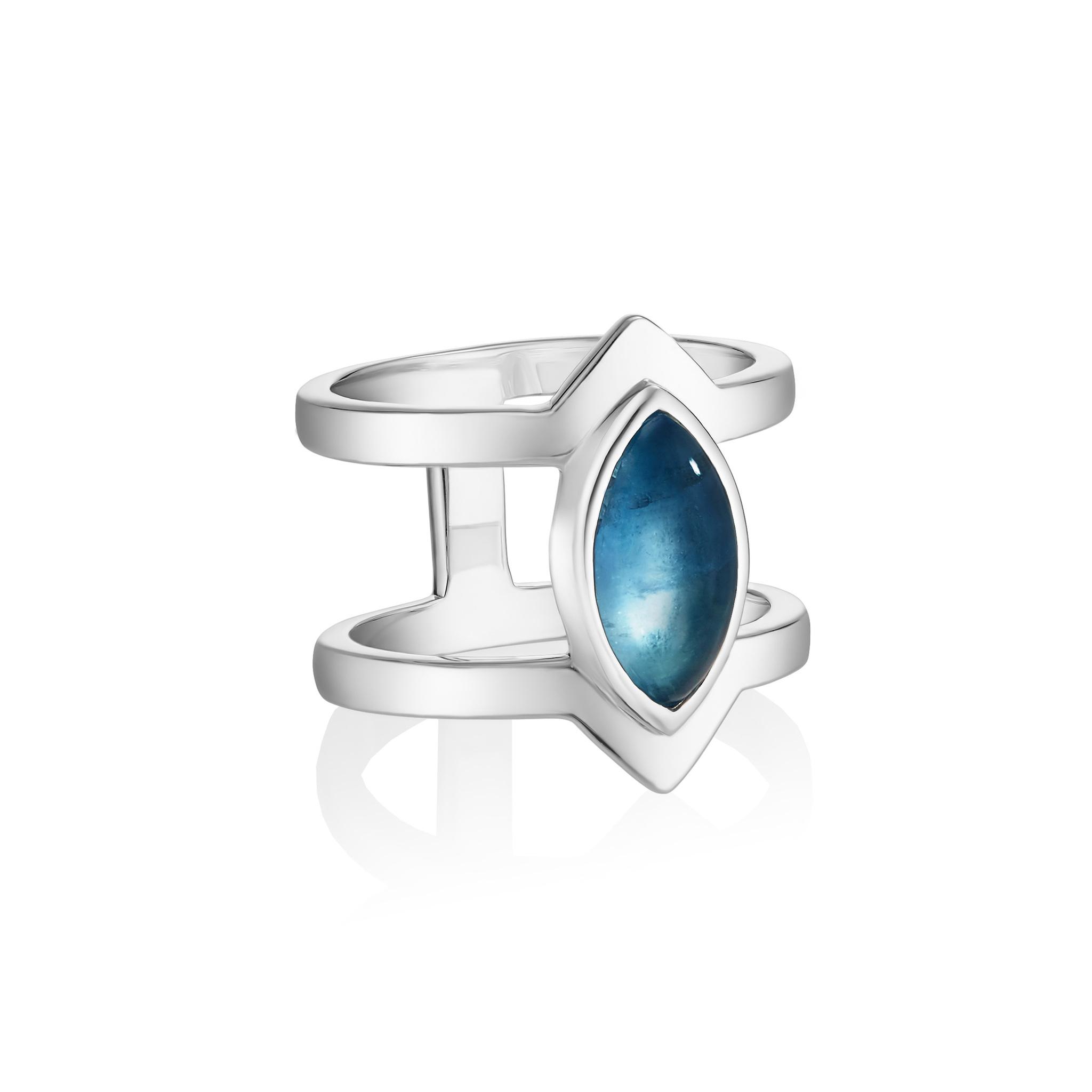 Кольцо PETALA двойное - Синий флюорит